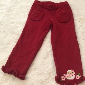 Gymboree quilted pant 2T with owl